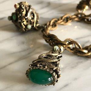 Vintage Jewelry - Vintage Semi-Precious Stone Serpent Charm Bracelet
